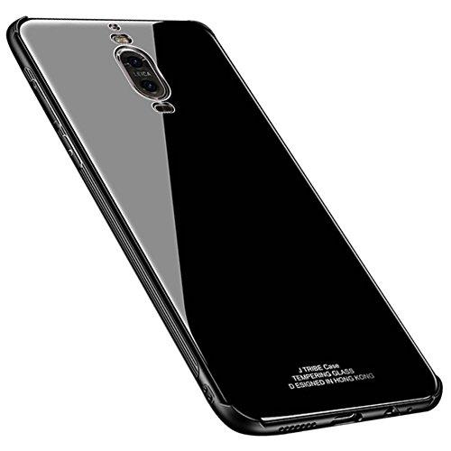 Kepuch Quartz Huawei Mate 9 Pro Hülle - TPU + Gehärtetes Glas Rückseite für Huawei Mate 9 Pro - Schwarz