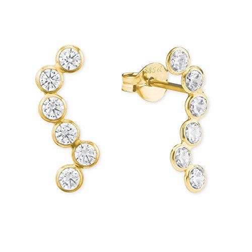 amor Damen-Ohrringe mit Zirkonia aus 585er Gelbgold
