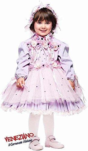 Kleinkind Kostüm Lila Fee (Italian made Baby & Kleinkinder Mädchen Dainty Puppe lila Blume Fee Festzug Karneval Kostüm Verkleidung Outfit 0-3 Jahre - Lila, 0)