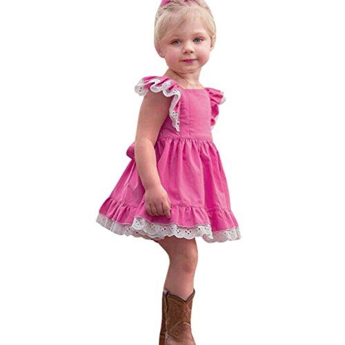 Tatis Baby-Mädchen-Kind Scherzt Spitze Sundress-Feste Kleidung Prinzessin Casual Dress (Größe: 4 Jahre, Heiß Rosa)