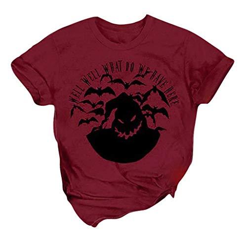 LILIGOD Damen Halloween T-Shirt Tops Casual Kurzarm Bluse Brief Drucken O-Ausschnitt T-Shirt Kurzen Ärmeln Oberteile Einfarbig Mode Blusen Sommer T-Shirt Blouse -