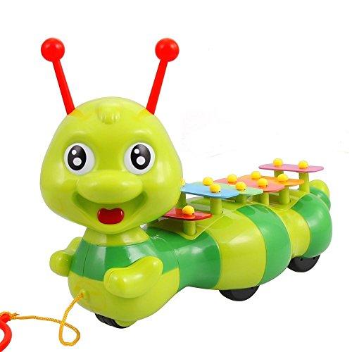 Allkindathings 1208Kinder Kinder Spielzeug Musikinstrument Xylophon Raupe 6x Notizen gelb