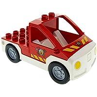Preisvergleich für Bausteine gebraucht 1 x Lego Duplo Auto Feuerwehr Pickup rot weiss mit Logo Transporter Wagen Truck 6168 47438c04pb01