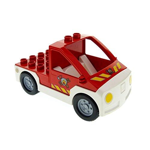 1 x Lego Duplo Auto Feuerwehr Pickup rot weiss mit Logo Transporter Wagen Truck 6168 47438c04pb01