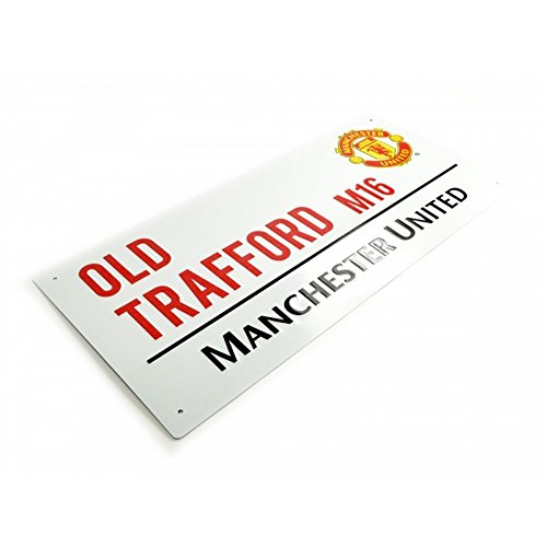 Manchester United FC Official Football Metal Street Sign One Size White Black Red
