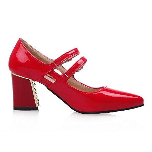 VogueZone009 Donna Fibbia Punta Chiusa Scarpe A Punta Tacco Medio Luccichio Puro Ballerine Rosso