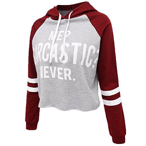 Fur Story 17A04 Femme Sweat ¨¤ capuche Slim Sweat ¨¤ capuche Casual avec poche Rouge et Gris