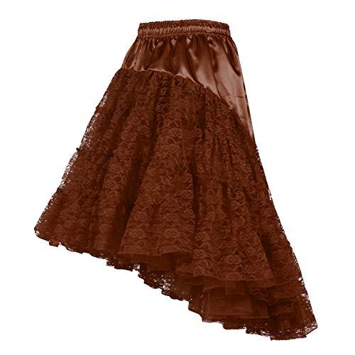 Damen Petticoat Unterrock lang Braun 60cm | Vintage Spitzen-Rock mit Rüschen für Karnevals- & Faschings-Kostüm | Größe 34 - - Saloon Girl Kostüm Muster
