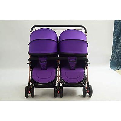 NEGJSDFG Carro de bebé Cochecito de bebé Gemelo de Dos vías Sentado Carro reclinable Plegable Ligero Cochecito de bebé Gemelo Plegable Plano, fácil de almacenar