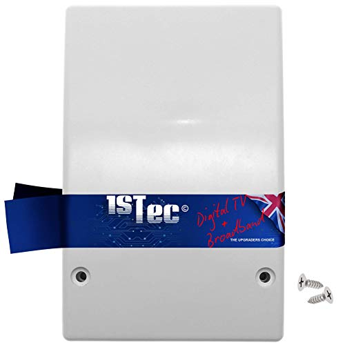1STec White Internal Virgin Media Wall Box Housing for 2-Way Splitter Outlet or Isolators suitable for use on TiVo V6 Digital TV & as used by Super Fast 2 3 Superhub Broadband Cable Modems (Indoor)