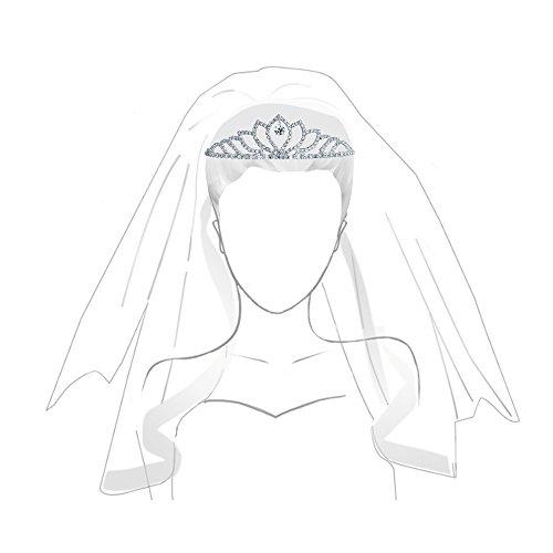 Bling Jewelry Crystal Corona caída Tiara nupcial chapados en plata.