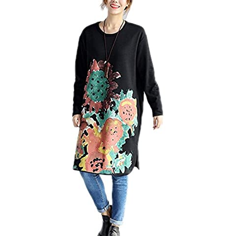 M&C Nuevo otoño y el invierno de algodón grueso jersey de gran variedad literaria de las mujeres del tamaño imprimen la sección larga del vestido , black , l