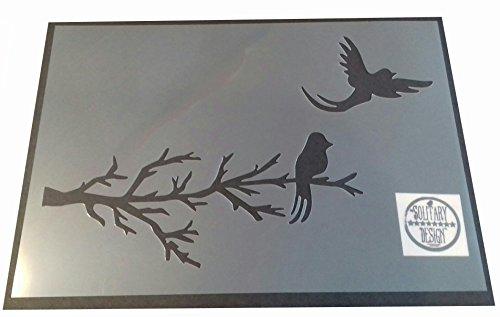 Solitarydesign, Shabby Chic-Schablone / Wanddesign, Motiv: Vögel auf Baumast, rustikaler Mylar-Vintage-Stil, A4297x 210mm.