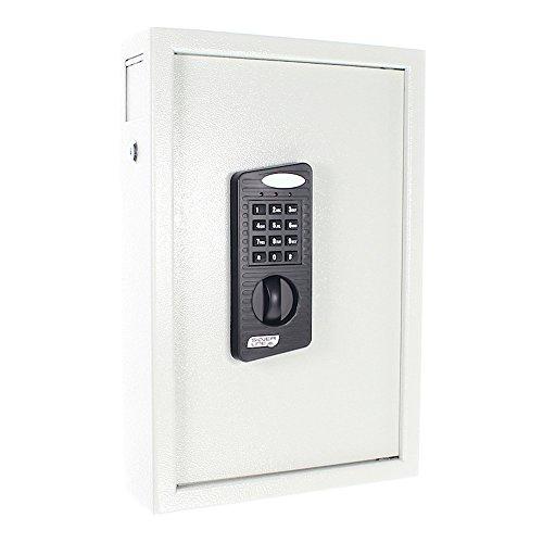 Rottner Schlüsseltresor Keytronic 48 mit Elektronikschloss - inkl. Notöffnung mittels Schlüssel - mit seitlichem Einwurfschlitz -  48 GRATIS Schlüsselanhänger - Wandbefestigung