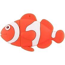 Orange Fish USB Flash Drive 16GB - Memory Stick Data Storage - Pendrive - Orange and white