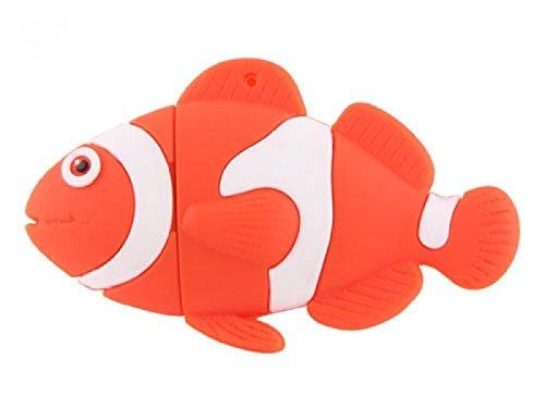 Arancione pesce usb flash drive 32 gb - memory stick archiviazione dati, pendrive, colore: arancione e bianco