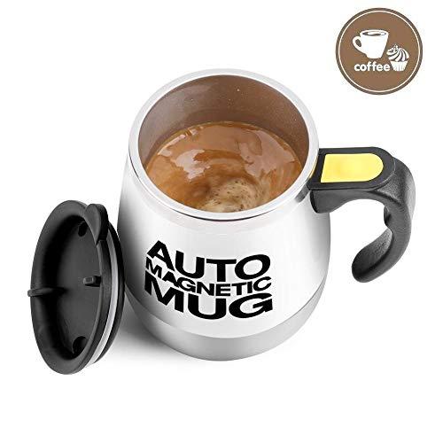 VBESTLIFE Elektrische Edelstahl selbst mischende Kaffeetasse,Schalen magnetische rührende Kaffeetasse als Geschenk für Reise,Büro,Haus usw.(Weiß)