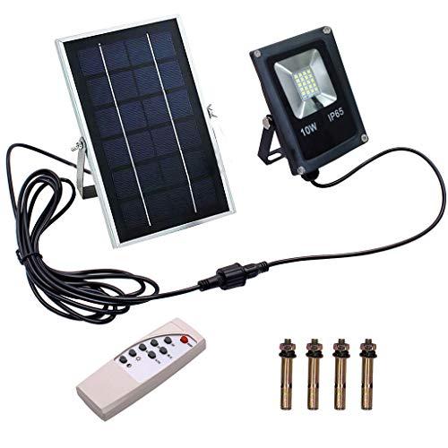 Solarlicht, TianranRT 10W LED-Flutlichtprojektor, IP65-wasserdichte Außen- / Innen-Sicherheitsbeleuchtung mit drahtloser Fernbedienung -
