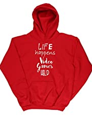 Hippowarehouse Life Happens Video Games Help Kids Unisex Hoodie Hooded Top