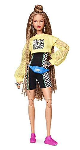 Barbie bmr1959 bambola snodata con chignon e look sportivo, ght91