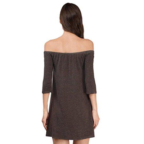 Amlaiworld Damen Lässige Kleidung locker Damen Party Abend Minikleid Braun