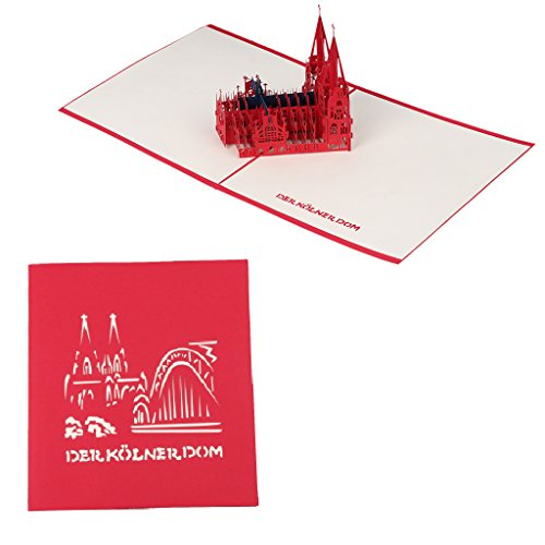 Qiuxiaoaa 3D Greeting Card, 3D Pop Up Paper Greeting Card Church Valentine Anniversary Invitations Handmade,