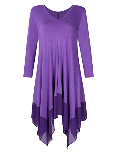 KoJooin Damen Plus Size Asymmetrische Lässige Longshirt Chiffon Bluse Oversize T Shirt Casual Tunika Top Lila Violett Langarm 4XL (T-shirt-kleider Plus Size)