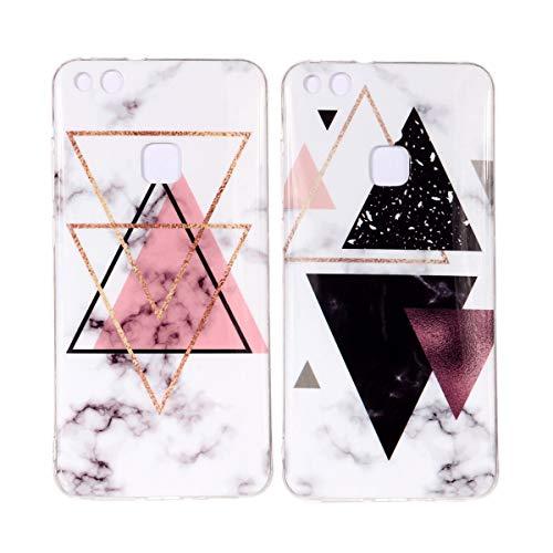 Misstars 2X Hülle für Huawei P10 Lite Marmor, Weich TPU Silikon Handyhülle mit IMD Technologie Schutzhülle Flexible Dünn Backcover, Rosa Dreieck+Schwarz Dreieck