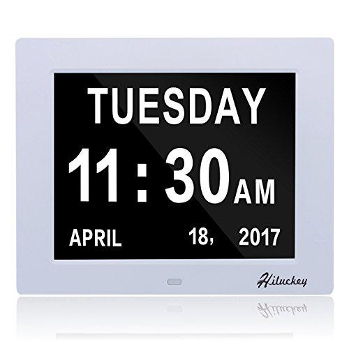 Preisvergleich Produktbild Digitaluhr Kalender Tag Uhr mit extra großer Schrift für Kinder,  Senioren,  Sehschwache und Alzheimer Patienten