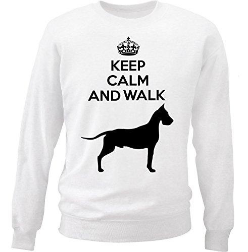 teesquare1st Men's Great Dane - Keep Calm And Walk White Sweatshirt Size XXLarge (Sweatshirt Adult Dane Great)