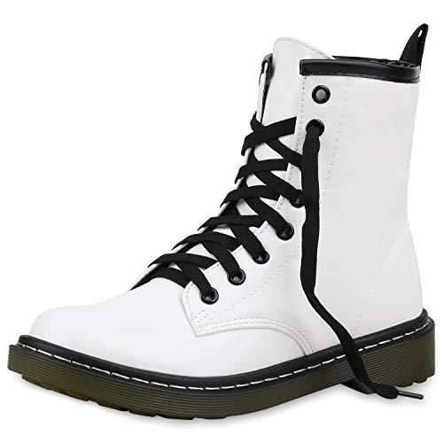 SCARPE VITA Damen Stiefeletten Worker Boots Leicht Gefütterte Outdoor Schuhe 171760 Weiss Leicht Gefüttert 39