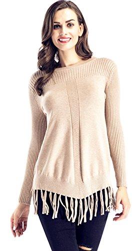 Manches Longues Ourlet Frangé en maille côtelée côtelé Pullover Pull Sweater Jumper Haut Top Abricot