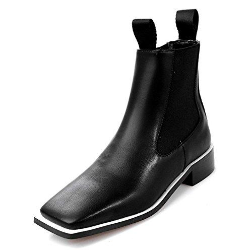 COOLCEPT Damen Mode-Event Blockabsatz Flach Gemütlich Knöchelriemchen Schwarz