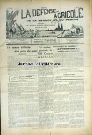 DEFENSE AGRICOLE DE LA BEAUCE ET DU PERCHe (LA) [No 8] du 11/03/1959 - LES PRIX DU PORC PAR HENRI ROUY - LA MOTION GENERALE DU XIIIEME CONGRES DE LA F.N.S.E.A. - PRODUCTEURS DE CEREALES ATTENTION