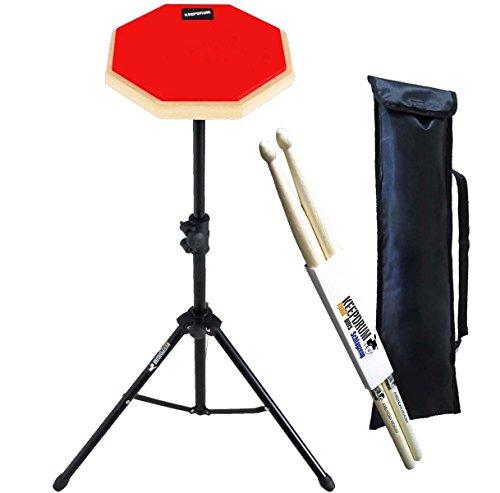 Keepdrum DP-RD SET Practice Pad Rot m. Übungspadständer u. Tasche + 1 Paar Drumsticks