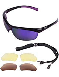Rapid Eyewear Rio UV400 SPORTS SUNGLASSES For Women, With Purple Mirror, Polarised & Low Light Interchangeable Lenses. UV 400 Ladies Sport Glasses for Cycling, Running, Tennis, Sailing etc.