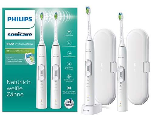 Philips Sonicare ProtectiveClean 6100 Elektrische Zahnbürste HX6877/34, mit Schalltechnologie, Andruckkontrolle, Doppelpack, weiß