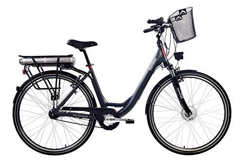 Telefunken E-Bike Elektrofahrrad Alu, mit 7-Gang Shimano Nabenschaltung, Pedelec Citybike leicht mit Fahrradkorb, 250W und 13Ah, 36V Lithium-Ionen-Akku, Reifengröße: 28 Zoll, RC657 Multitalent -
