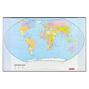 Herlitz 5552203 Sous-main carte du monde (langue anglaise) 70 x 45 cm (Import Allemagne)