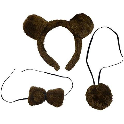(Bear Costume Set) Un Traje Traje De Oso Con Las Orejas, La Cola Y Pajarita