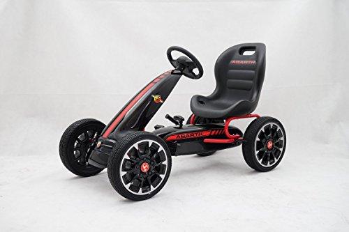 GDToys ® Kinder Pedal Go-Kart, ABARTH Lizenz, Rutscher Auto, Pedal Go Cart, 3-8 Jahre 3 FARBEN (SCHWARZ)