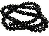 100 Rondelle in schwarz 6 mm, Glasperlen facettiert, Perlen, Glasschliffperlen
