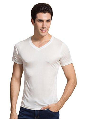 Herren Reiner Seide Tops Kurzarm Tank V-Ausschnitt T-Shirt Weiss 2XL - Seide Kurzarm Herren Shirts