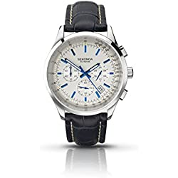 Sekonda Men's Quartz Watch with Silver Dial Analogue Display and Blue Leather Strap 3461.27