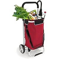 Caddie de courses bremermann®, chariot à main, poussette de marché, voiturette avec sac amovible, rouge