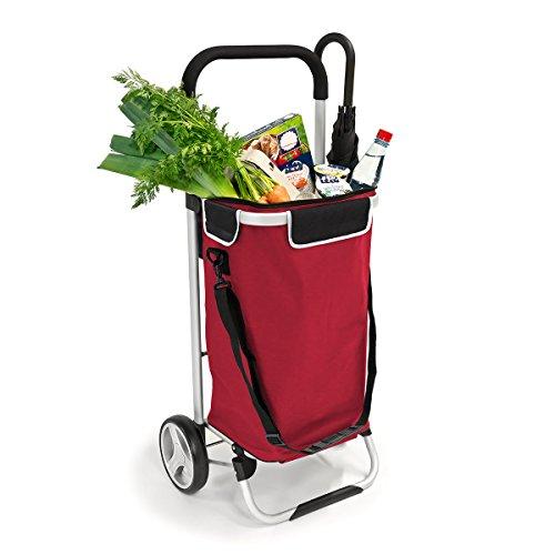 bremermann Einkaufstrolley, Handwagen, Einkaufswagen mit abnehmbarer Tasche (rot)