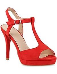 Stiefelparadies Damen Sandaletten Glitzer Riemchensandaletten Lack Party Schuhe Metallic Stiletto Sandalen Strass Flandell