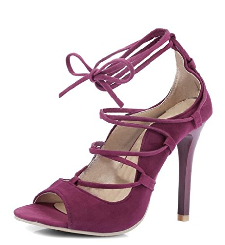 Minetom Donna Primavera Estate Sexy Stiletto Stringate Sandalo Tacco Scarpe Pompa Scarpe Col Tacco Sandals Rosso