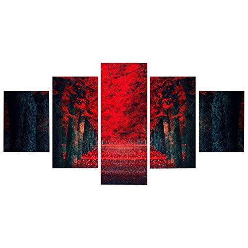 Moderne Dekorative Gemälde Inkjet Leinwand Gemälde rote Maple Leaf Fünf Gemälde