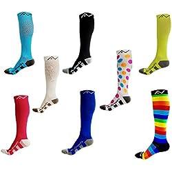 A-Swift - Par de calcetines de compresión unisex por debajo de la rodilla, ideales para correr, atletismo, crossfit, vuelos en avión, enfermería, maternidad y embarazo, Large, Blanco